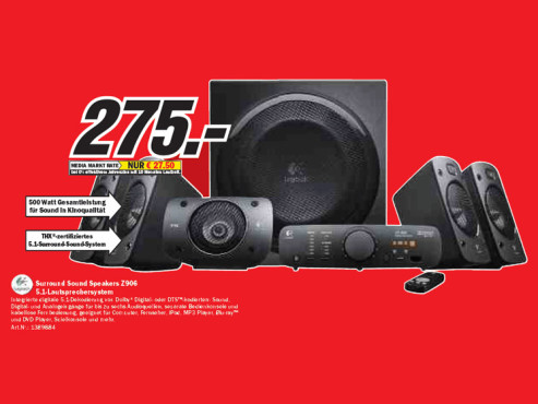 Logitech Surround Sound Speakers Z906 © Media Markt