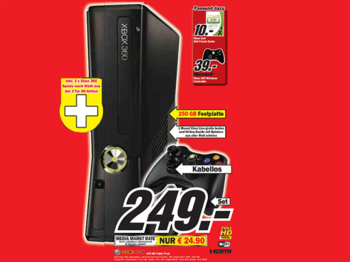 Microsoft Xbox 360 250 GB Triple Pack © Media Markt
