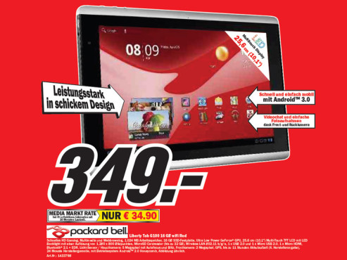 Packard Bell Liberty Tab G100 16 GB wifi Red © Media Markt