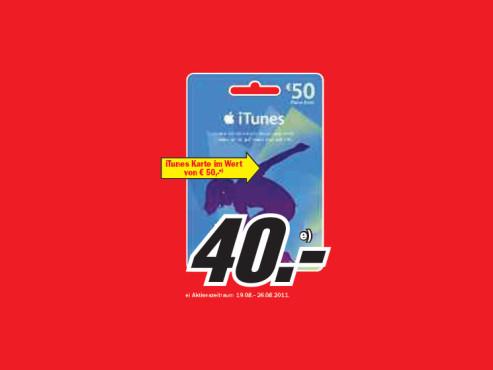 iTunes Karte im Wert von 50 Euro ©Media Markt
