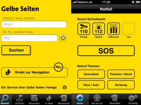 Gelbe Seiten Notfall-App ©GelbeSeiten Marketing