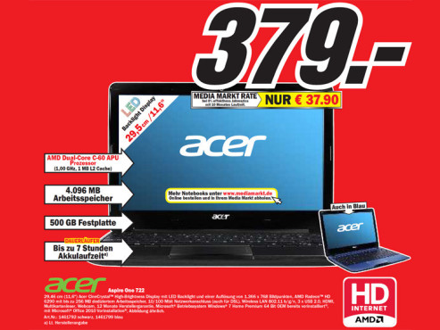 Acer Aspire One 722 © Media Markt