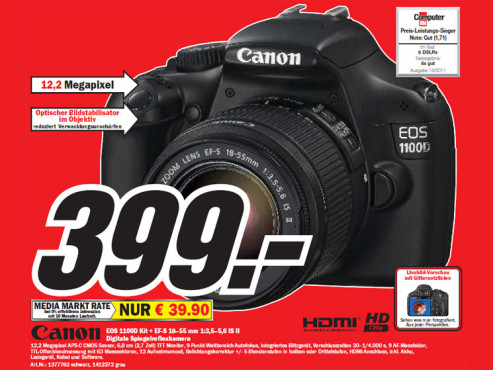 Canon EOS 1100D Kit + EF-S 18-55 mm © Media Markt
