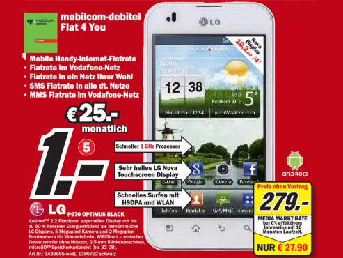 LG P970 Optimus Black ©Media Markt