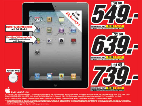 Apple iPad 2 mit Wi-Fi + 3G © Media Markt