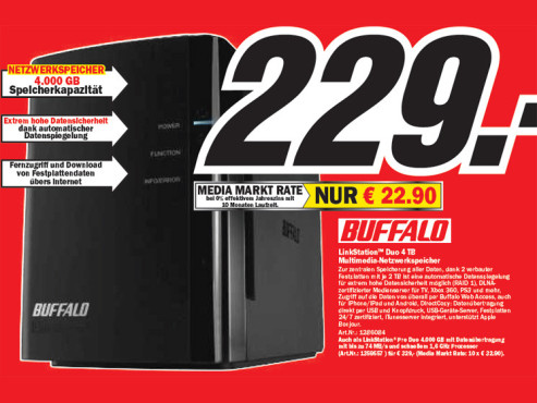 Buffalo LinkStation Duo vier Terabyte © Media Markt