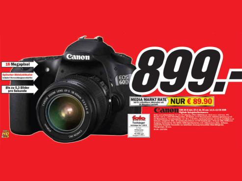 Canon EOS 60 D inkl. EF-S 18–55 Millimeter 1:3,5–5,6 IS USM ©Media Markt