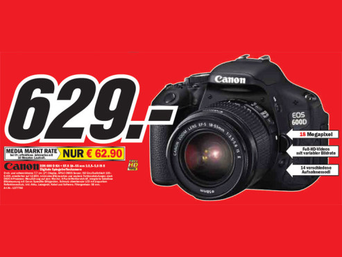 Canon EOS 600 D Kit + EF-S 18–55 Millimeter 1:3,5–5,6 IS II © Media Markt