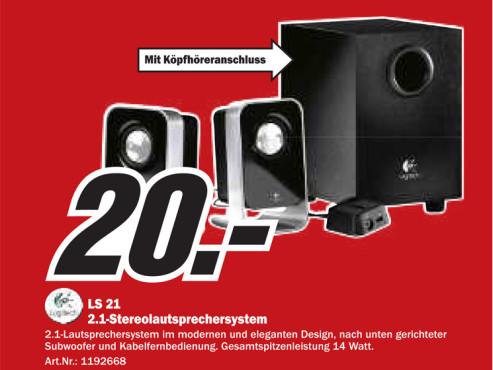 Logitech LS 21 2.1-Stereolautsprechersystem ©Media Markt