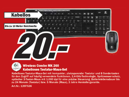 Logitech Wireless Combo MK 260 ©Media Markt