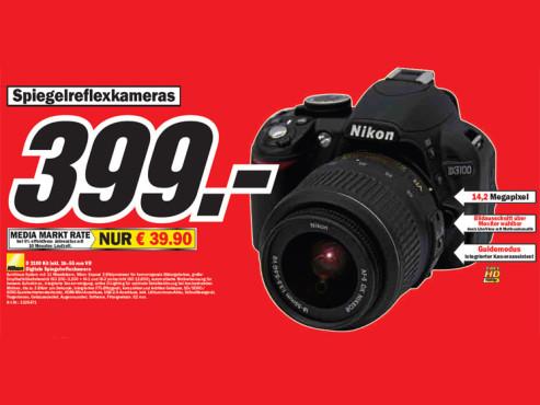 Nikon D 3100 Kit inkl. 18–55 Millimeter VR ©Media Markt