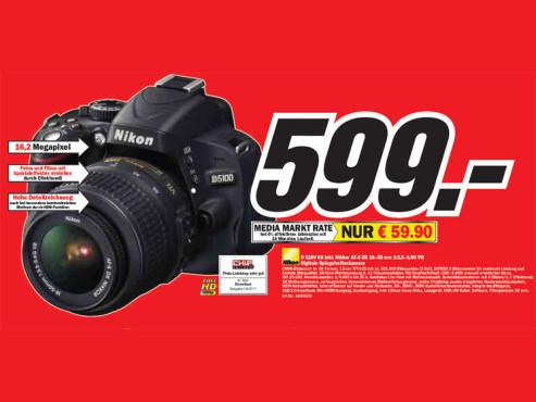 Nikon D 5100 Kit inkl. Nikkor AF-S DX 18–55 Millimeter 1:3,5–5,6G VR ©Media Markt