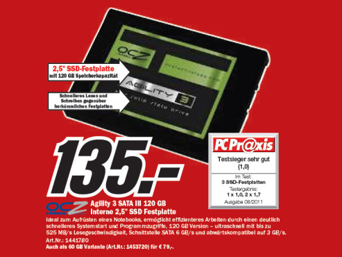 OCZ Agility 3 SATA III 120 Gigabyte Interne 2,5 Zoll SSD Festplatte ©Media Markt