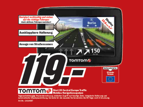 TomTom Start 20 Central Europe Traffic © Media Markt