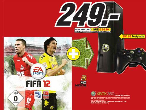 XBox 360 250 Gigabyte FIFA 12 Pack ©Media Markt