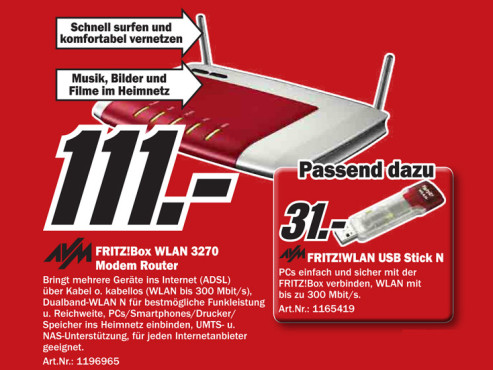 AVM FRITZ!Box WLAN 3270 © Media Markt