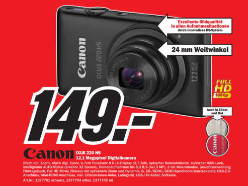Canon Digital Ixus 220 HS © Media Markt
