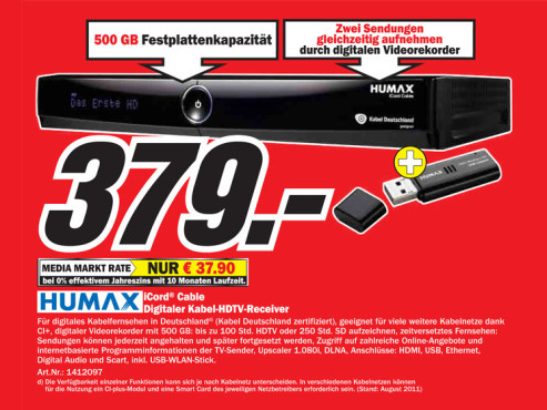 Humax iCord Cable 500GB © Media Markt
