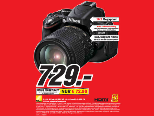 Nikon D5100 Kit 18-105 mm © Media Markt