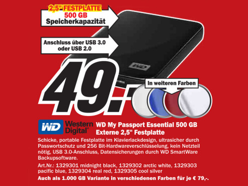 Western Digital My Passport Essential USB 3.0 500GB schwarz © Media Markt