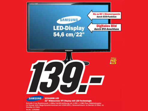 Samsung S22A300B LED © Media Markt