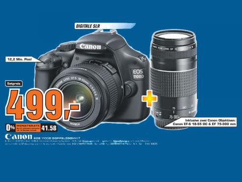 Canon EOS 1100D inklusive zwei Canon-Objektiven ©Saturn