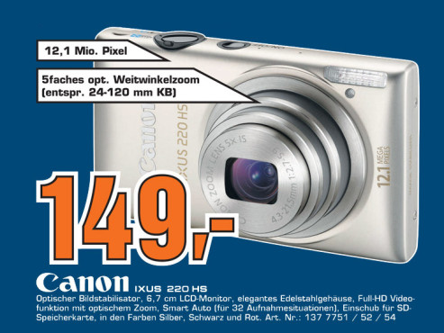 Canon Ixus 220 HS ©Saturn