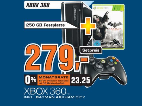 Microsoft Xbox 360 inklusive Batman Arkham City ©Saturn