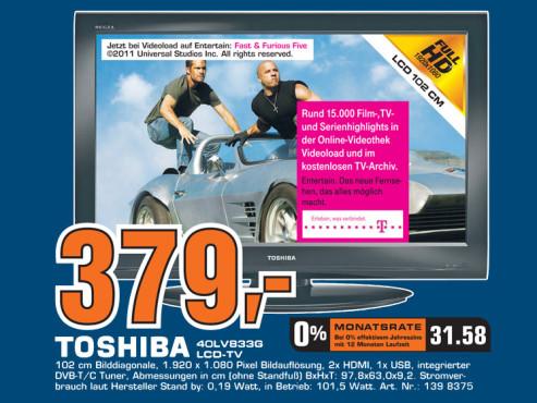 Toshiba 40LV833G ©Saturn