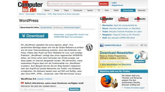 Wordpress-Download bei COMPUTER BILD © COMPUTER BILD
