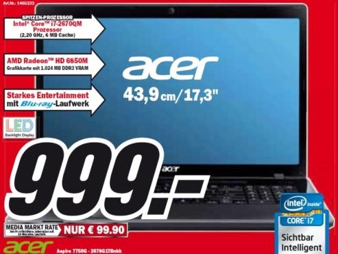 Acer Aspire 7750G-2678G1TBnkk ©Media Markt