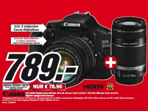 Canon EOS 550D Double Zoom Kit © Media Markt
