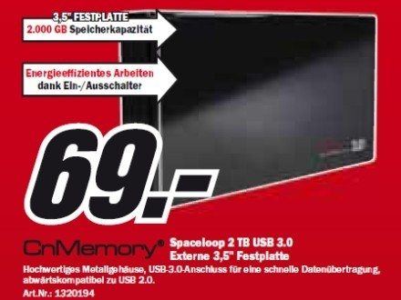CnMemory Spaceloop 2 TB USB 3.0 © Media Markt