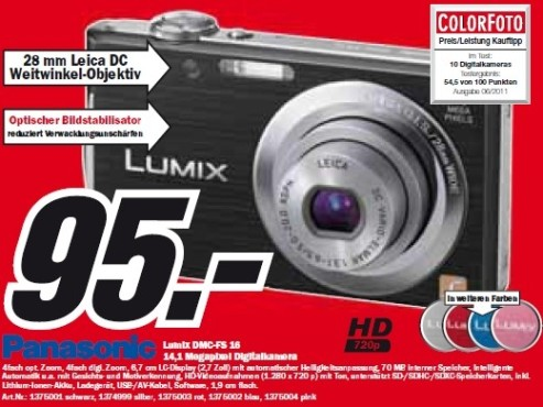 Panasonic Lumix DMC-FS16 © Media Markt