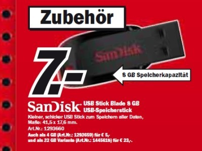 Sandisk USB Stick Blade 8 GB © Media Markt