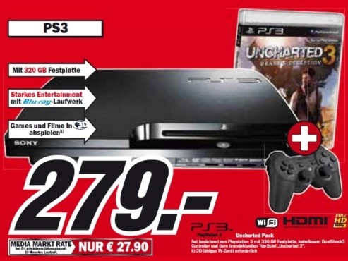 Sony Playstation 3 mit aktuellem Top-Spiel ©Media-Markt