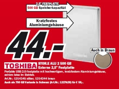 Toshiba Store Alu 2 500 GB ©Media Markt