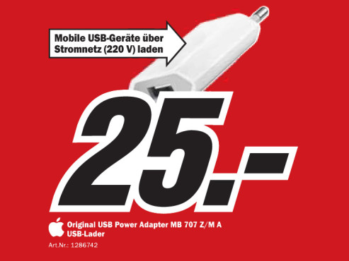 Apple USB Power Adapter MB 707 Z/M A © Media Markt