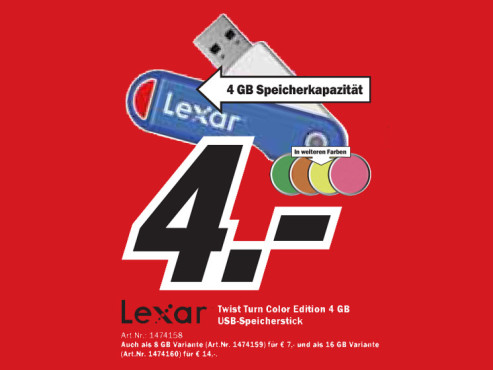 Lexar Twist Turn Color Edition 4 GB © Media Markt