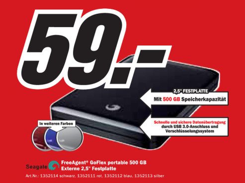 Seagate FreeAgent GoFlex Portable 500 GB © Media Markt