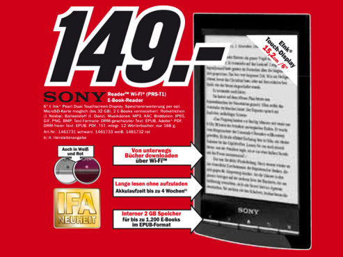 Sony Reader Wi-Fi (PRS-T1) © Media Markt