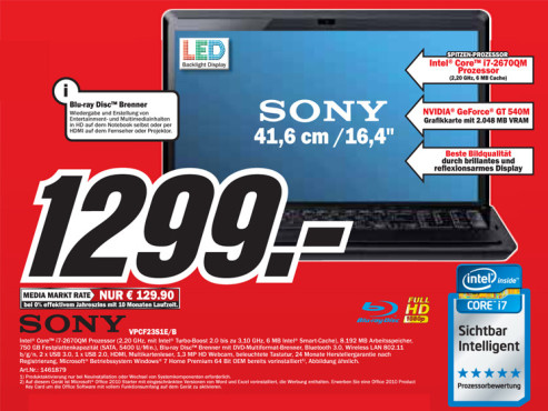Sony VPCF23S1E/B ©Media Markt