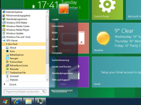 8 Skin Pack Windows 7 Startmenü © COMPUTER BILD