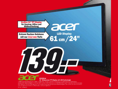 Acer S240HLbd ©Media Markt