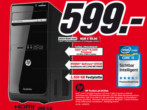 Hewlett-Packard HP Pavilion p6-2039de © Media Markt