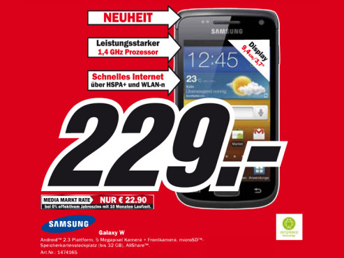 Samsung Galaxy W © Media Markt