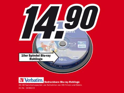 Verbatim Blu-ray-Rohlinge ©Media Markt