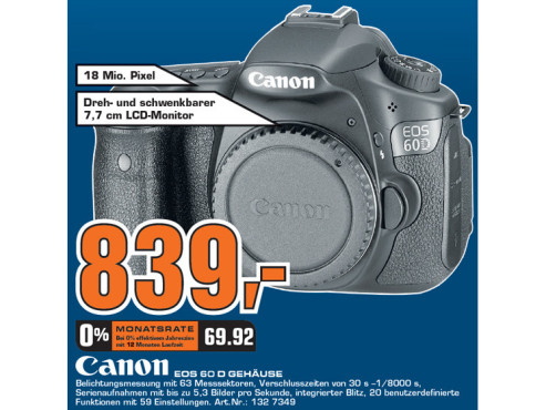 Canon EOS 60D (ohne Objektiv) ©Saturn