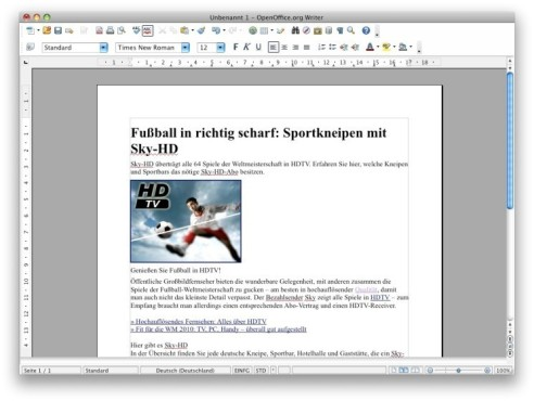 Screenshot OpenOffice.org © COMPUTER BILD