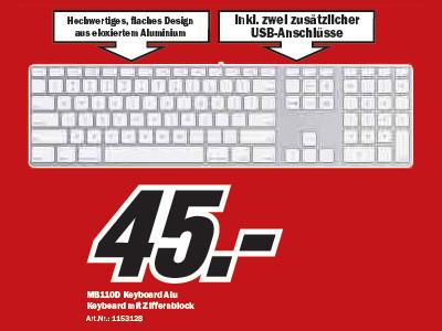 Apple MB110D Keyboard Alu ©Media Markt